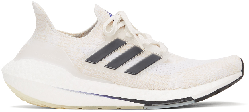 Photo: adidas Originals White & Beige Primeblue Ultraboost 21 Sneakers