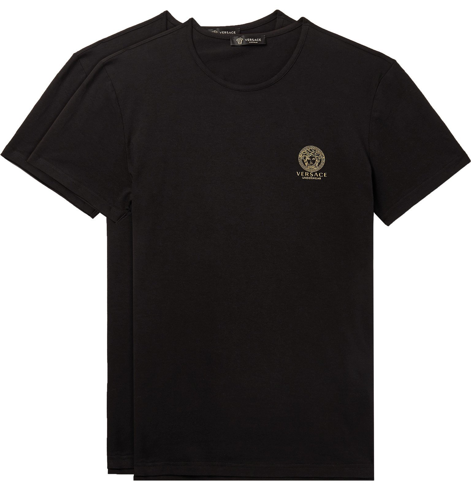 Photo: Versace - Two-Pack Slim-Fit Logo-Print Stretch-Cotton Jersey T-Shirts - Black