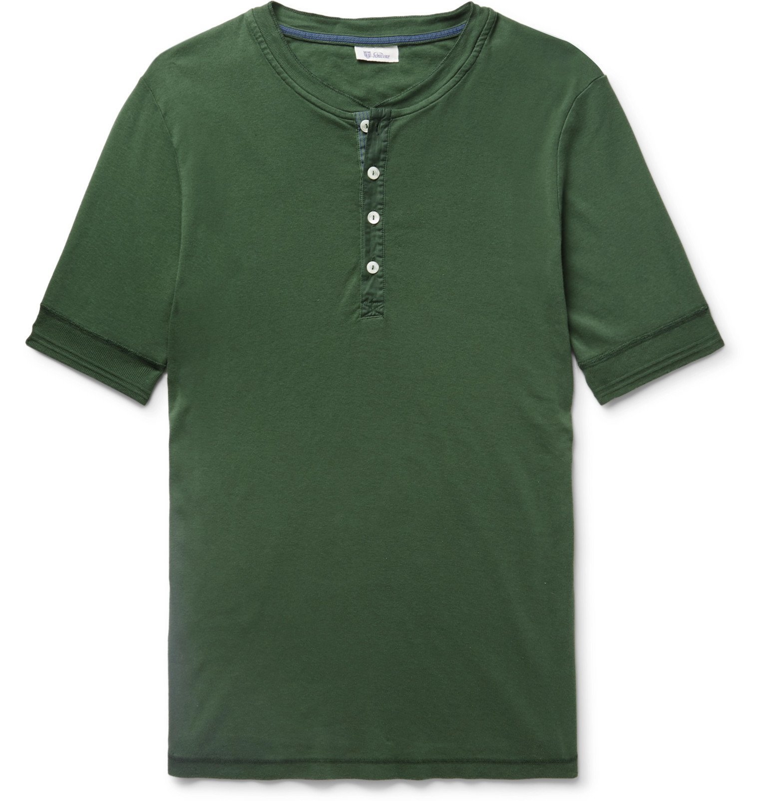 Schiesser - Karl Heinz Cotton-Jersey Henley T-Shirt - Green