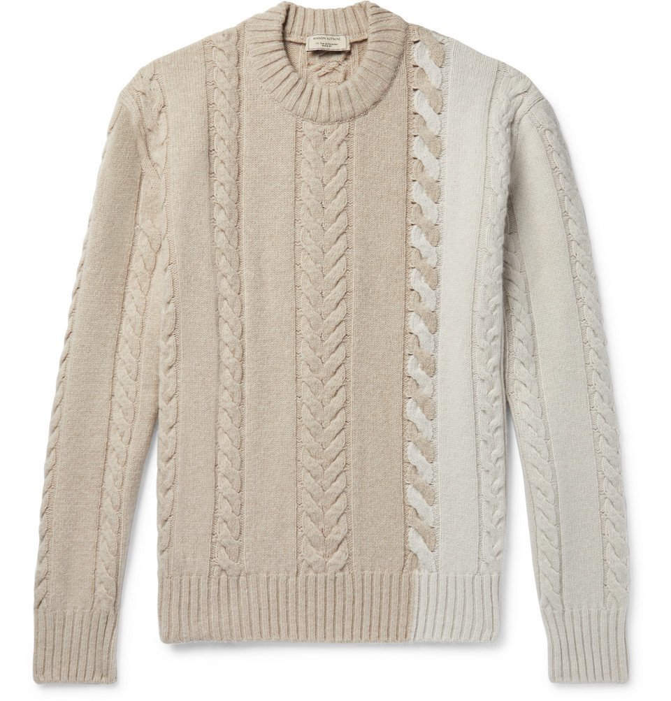 Photo: Maison Kitsuné - Colour-Block Cable-Knit Wool Sweater - Neutral