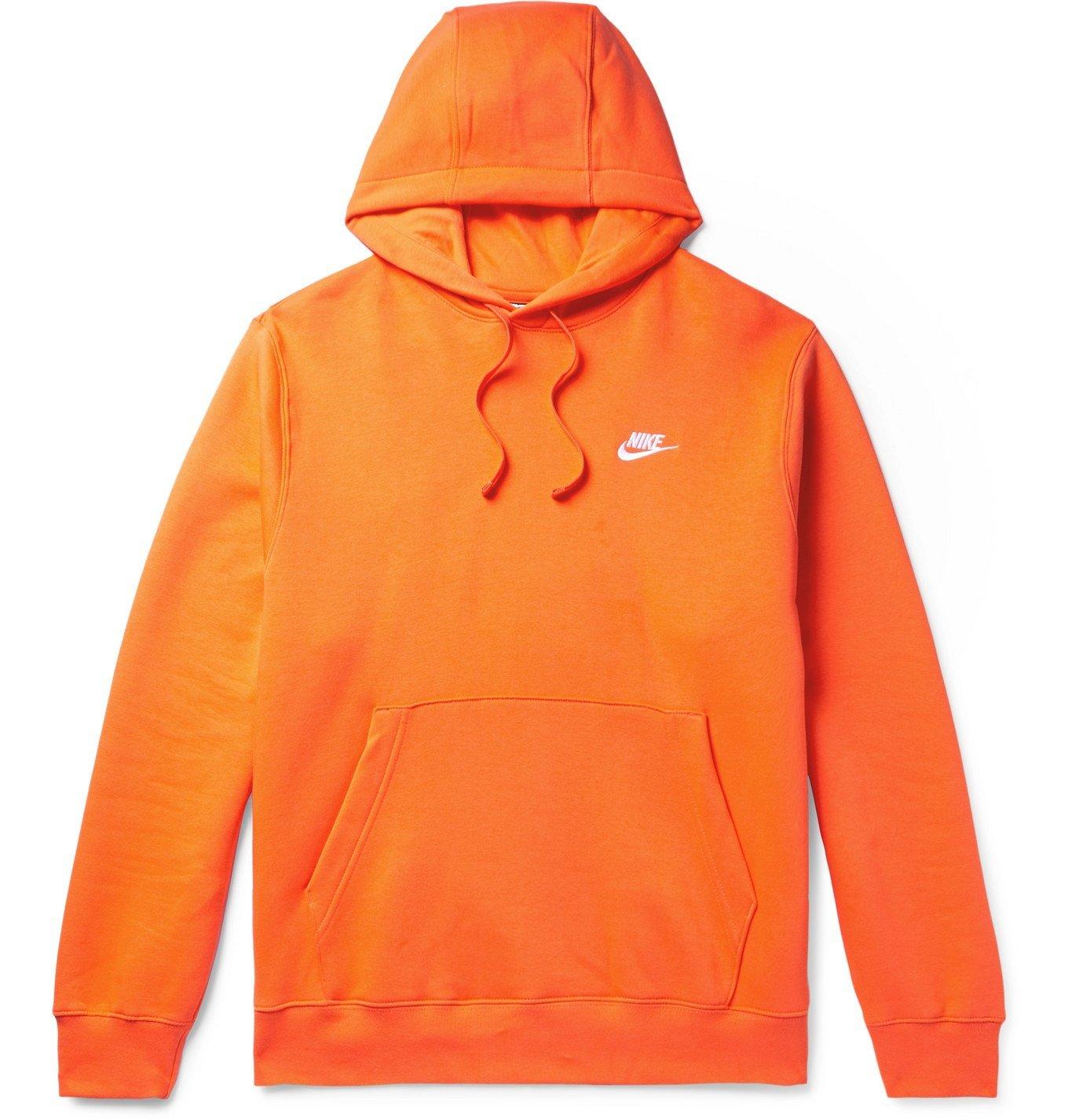 Photo: Nike - Club Logo-Embroidered Fleece-Back Cotton-Blend Jersey Hoodie - Orange