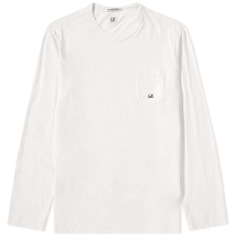 C.P. Company Long Sleeve Pocket Logo Tee White