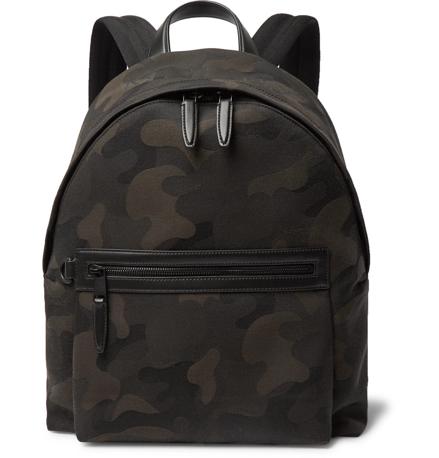 Photo: Mulberry - Leather-Trimmed Camouflage-Print Canvas Backpack - Green