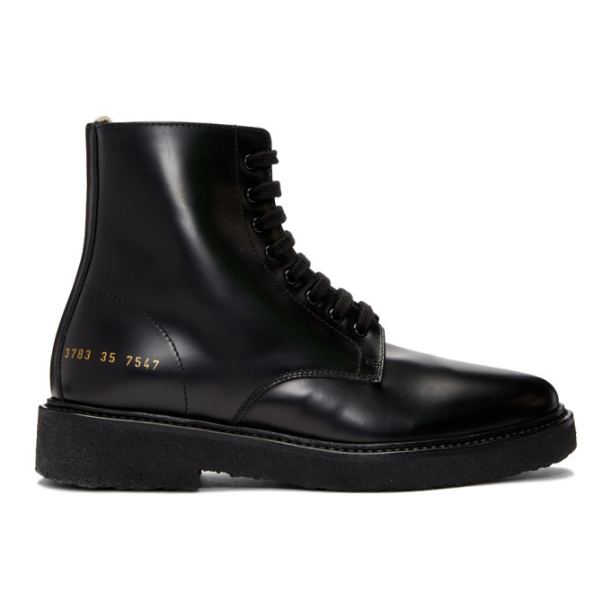 Black Combat Boots Woman by Common Projects