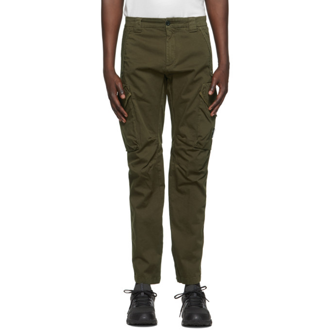 Photo: C.P. Company Green Stretch Sateen Garment-Dyed Utility Cargo Pants