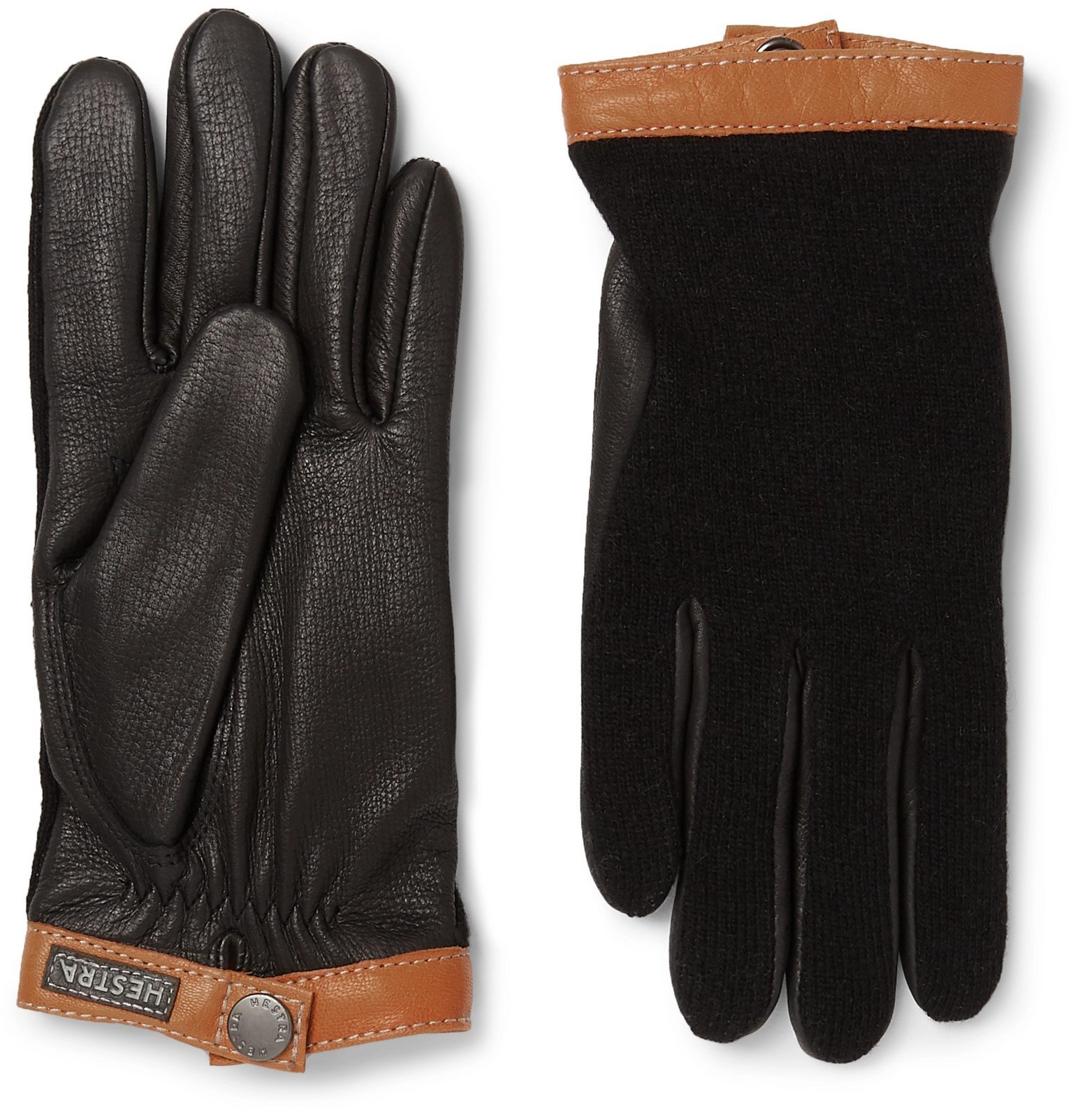 Photo: Hestra - Tricot-Panelled Leather Gloves - Black