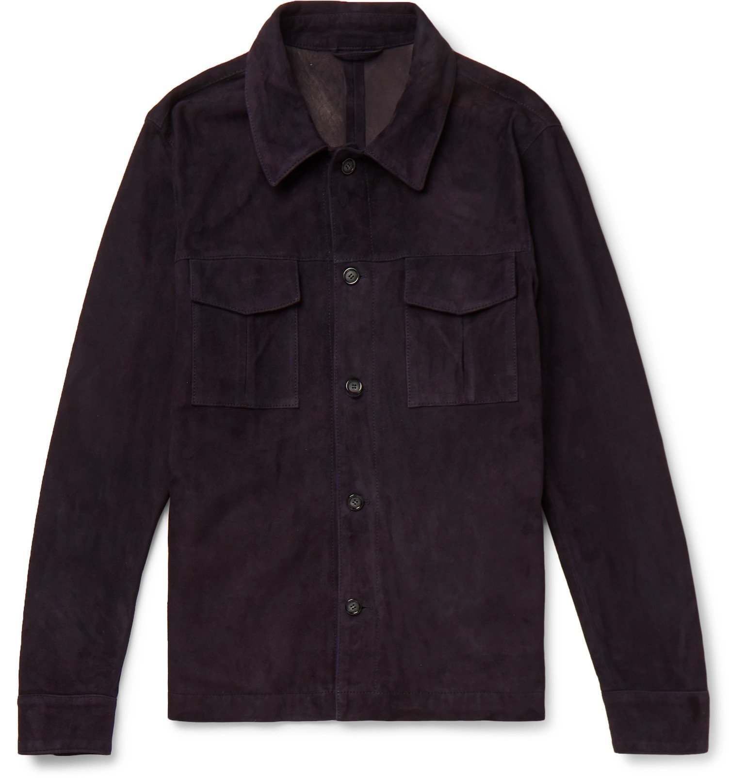 Photo: Valstar - Unlined Suede Shirt Jacket - Blue