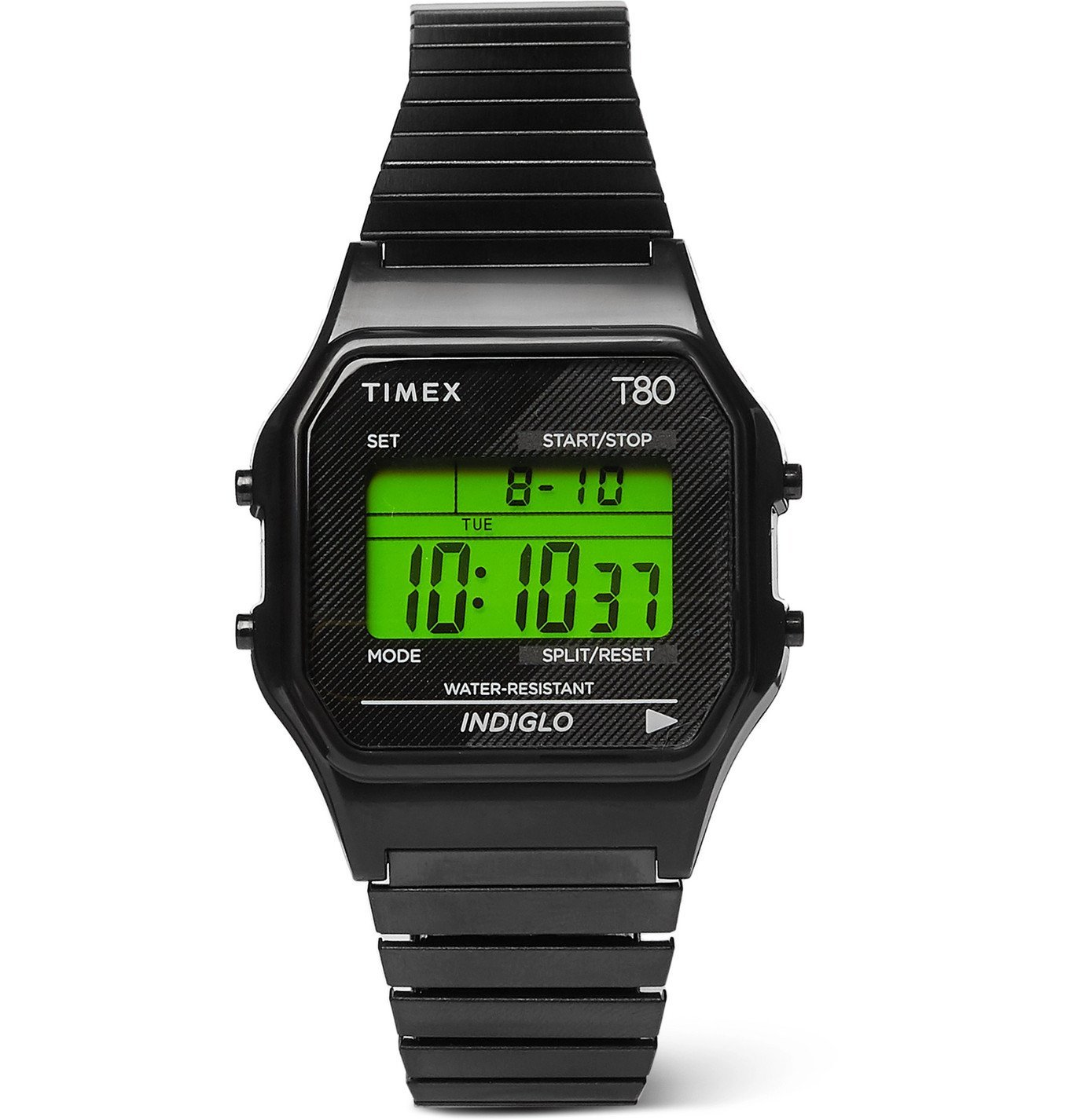 Photo: Timex - T80 34mm Stainless Steel Digital Watch - Green