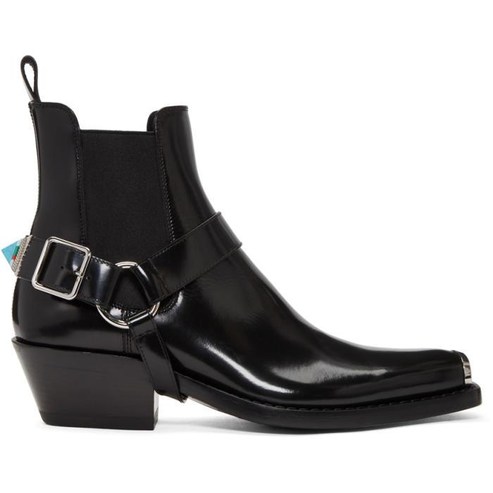 Photo: Calvin Klein 205W39NYC Black Western Harness Boots