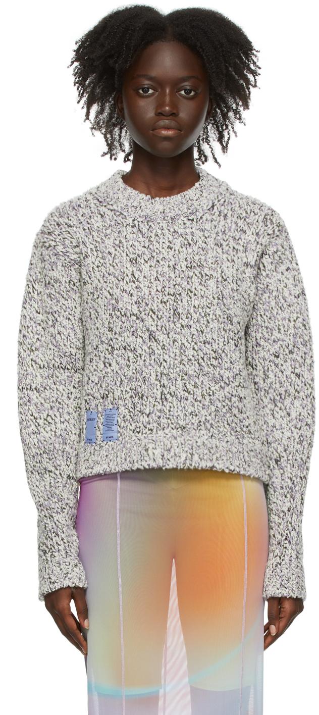 Photo: MCQ White & Purple Cropped Sweater