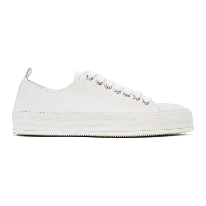 Photo: Ann Demeulemeester Off-White Distressed Suede Sneakers