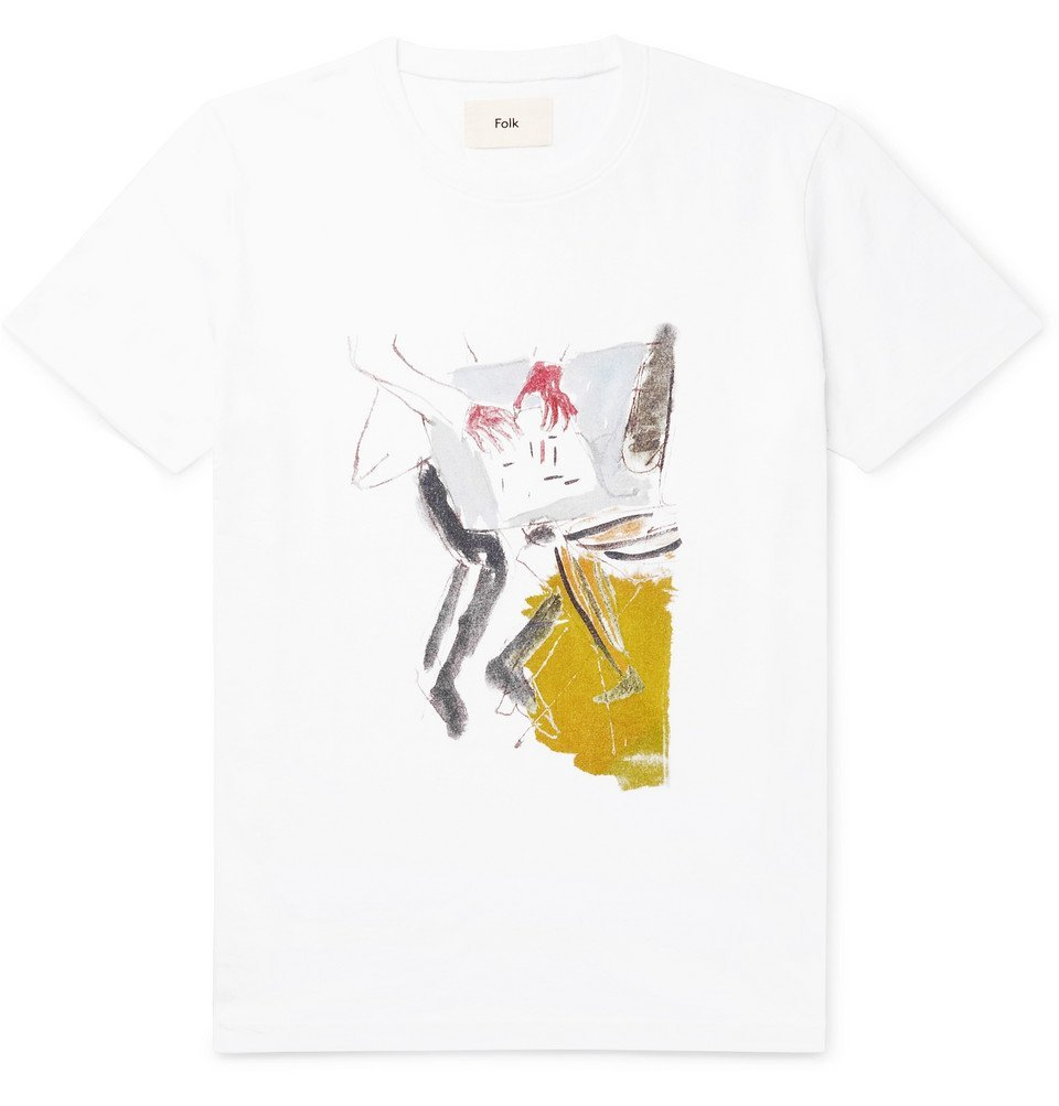 Photo: Folk - Goss Brothers Printed Cotton-Jersey T-Shirt - White