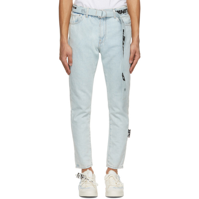 Photo: Off-White Blue Slim Fit Belted Jeans