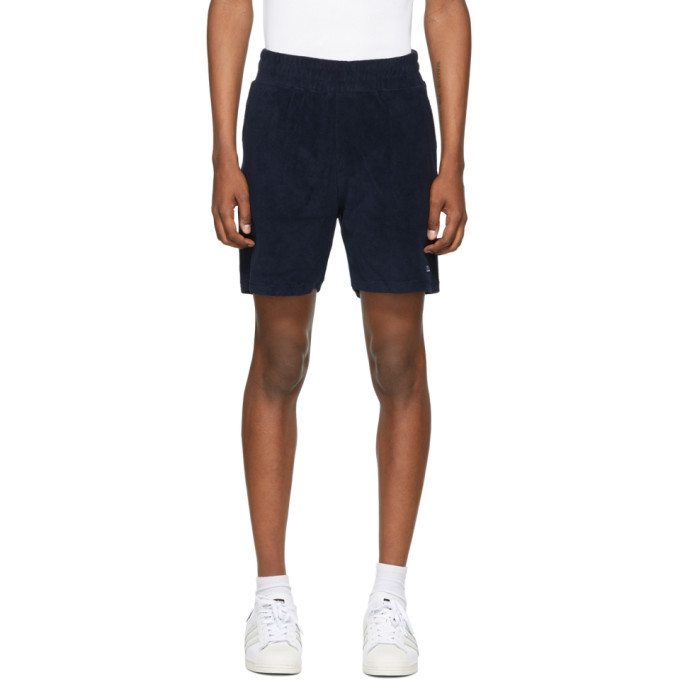 Photo: 032c Navy Terry Logo Embroidery Shorts