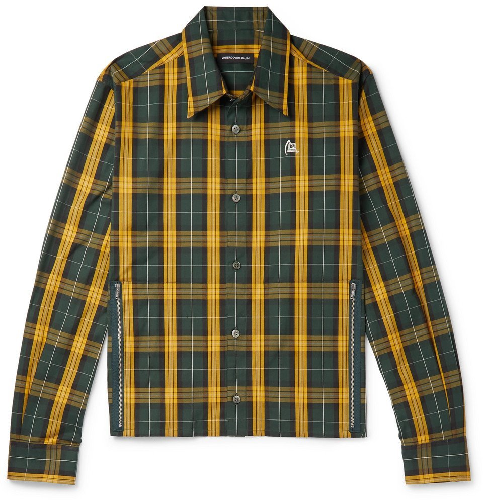 Photo: Undercover - Printed Checked Cotton Shirt - Green