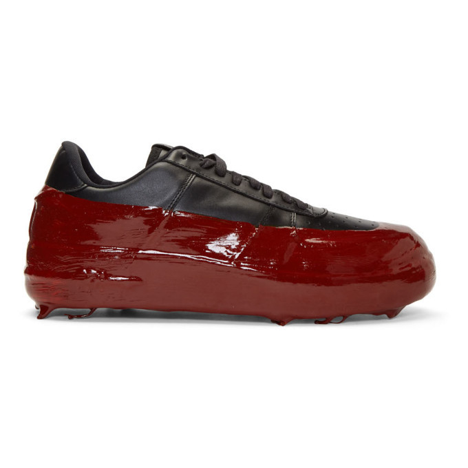 Photo: 424 SSENSE Exclusive Black and Red Dipped Sneakers