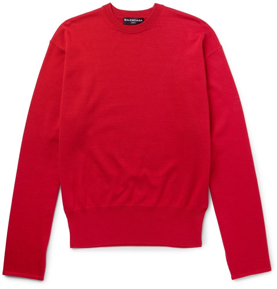 Photo: Balenciaga - Oversized Cotton-Blend Sweater - Men - Red