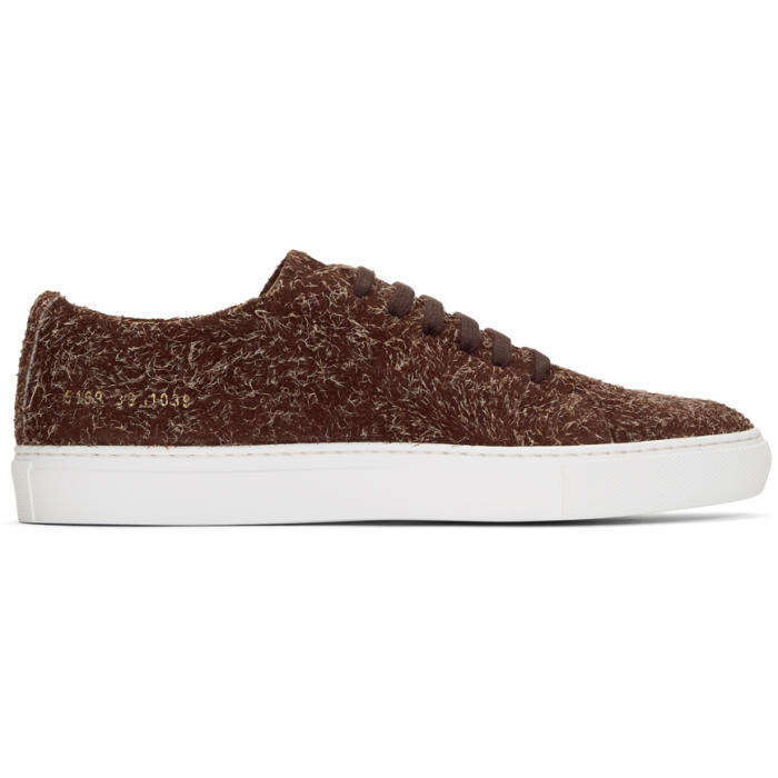 Common Projects Burgundy Suede Court Low Sneakers