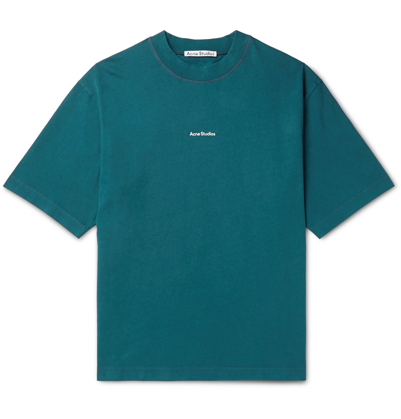 Photo: Acne Studios - Logo-Print Garment-Dyed Cotton-Jersey T-Shirt - Blue