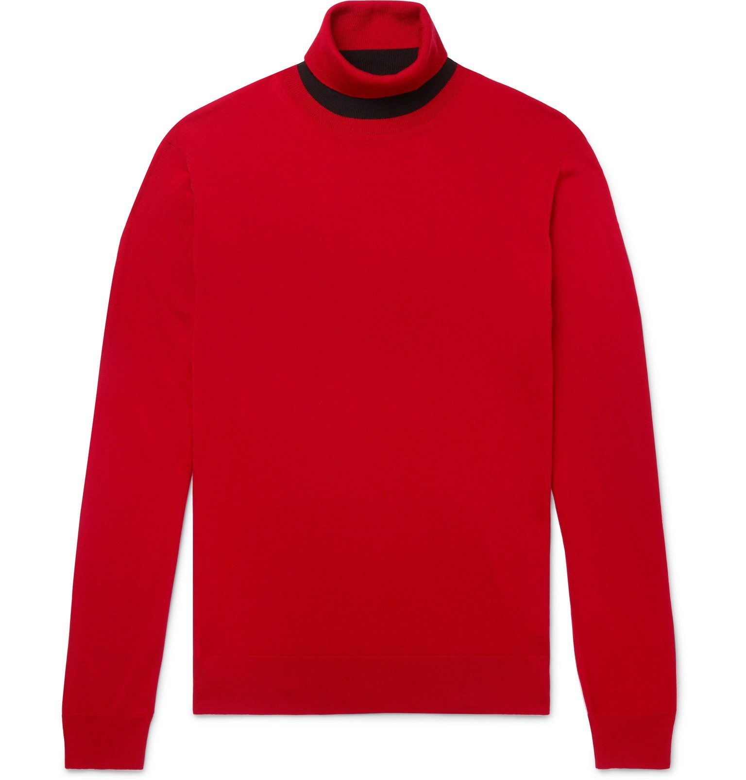 Photo: Mr P. - Slim-Fit Merino Wool Rollneck Sweater - Red