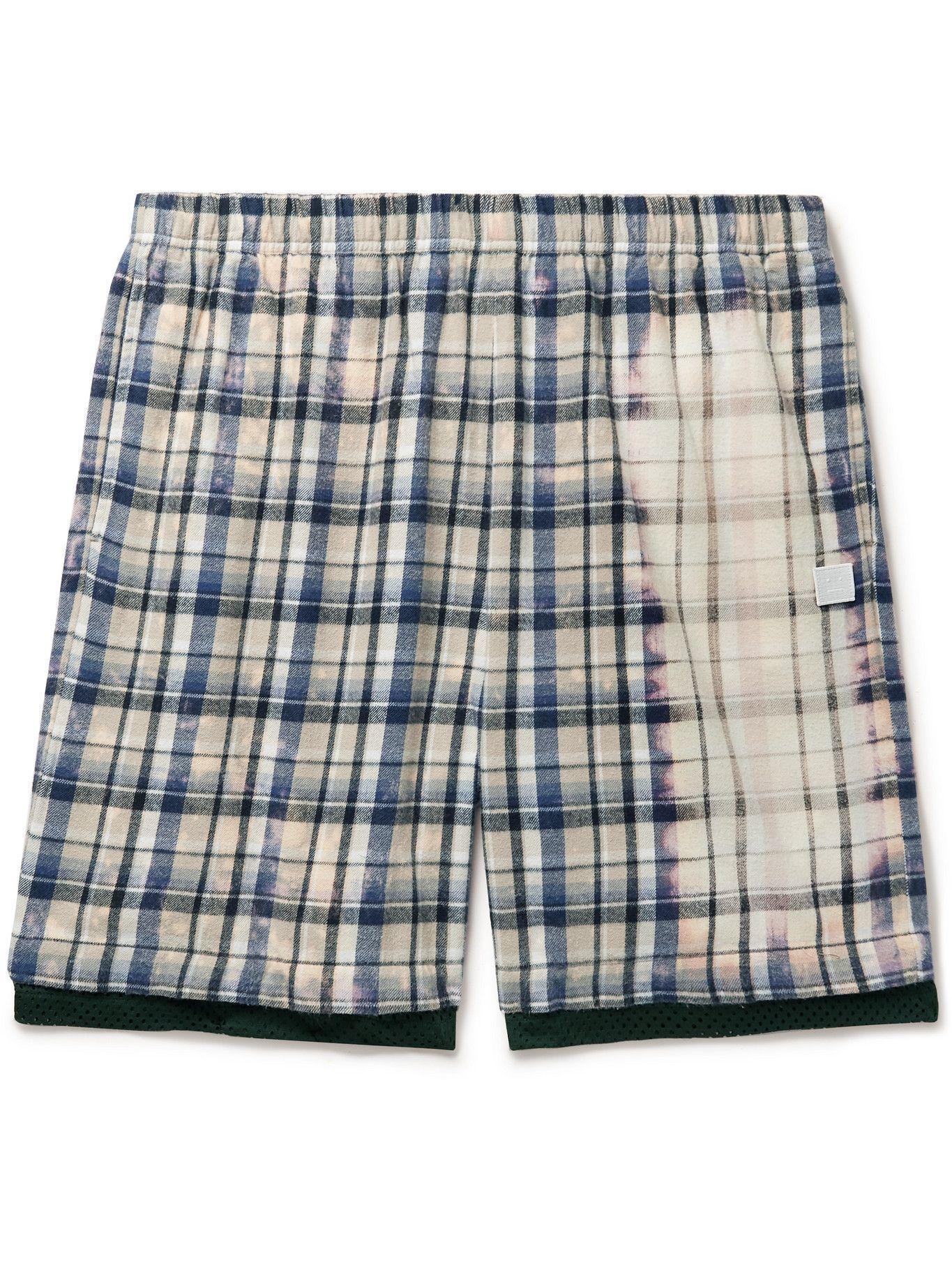 Photo: ACNE STUDIOS - Logo-Appliquéd Bleached Checked Cotton-Flannel Shorts - Multi
