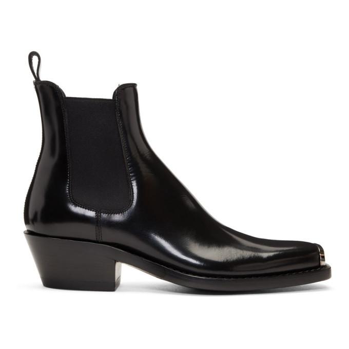 Photo: Calvin Klein 205W39NYC Black Western Chris Abrasivato Chelsea Boots