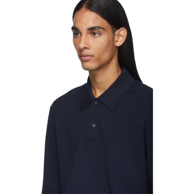 Bottega Veneta Blue Pique Long Sleeve Polo
