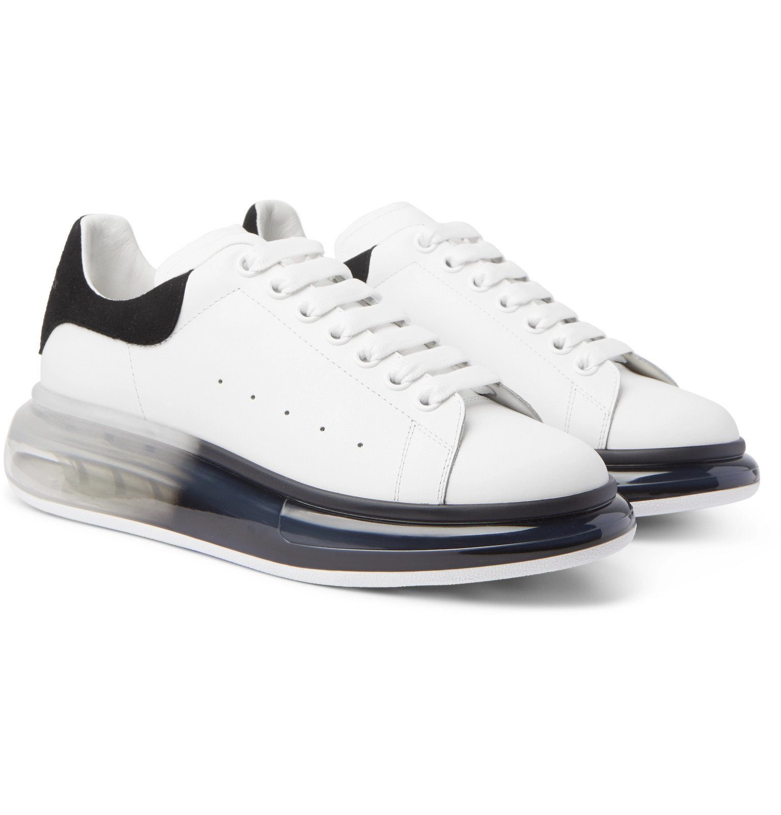 Photo: Alexander McQueen - Exaggerated-Sole Suede-Trimmed Leather Sneakers - White