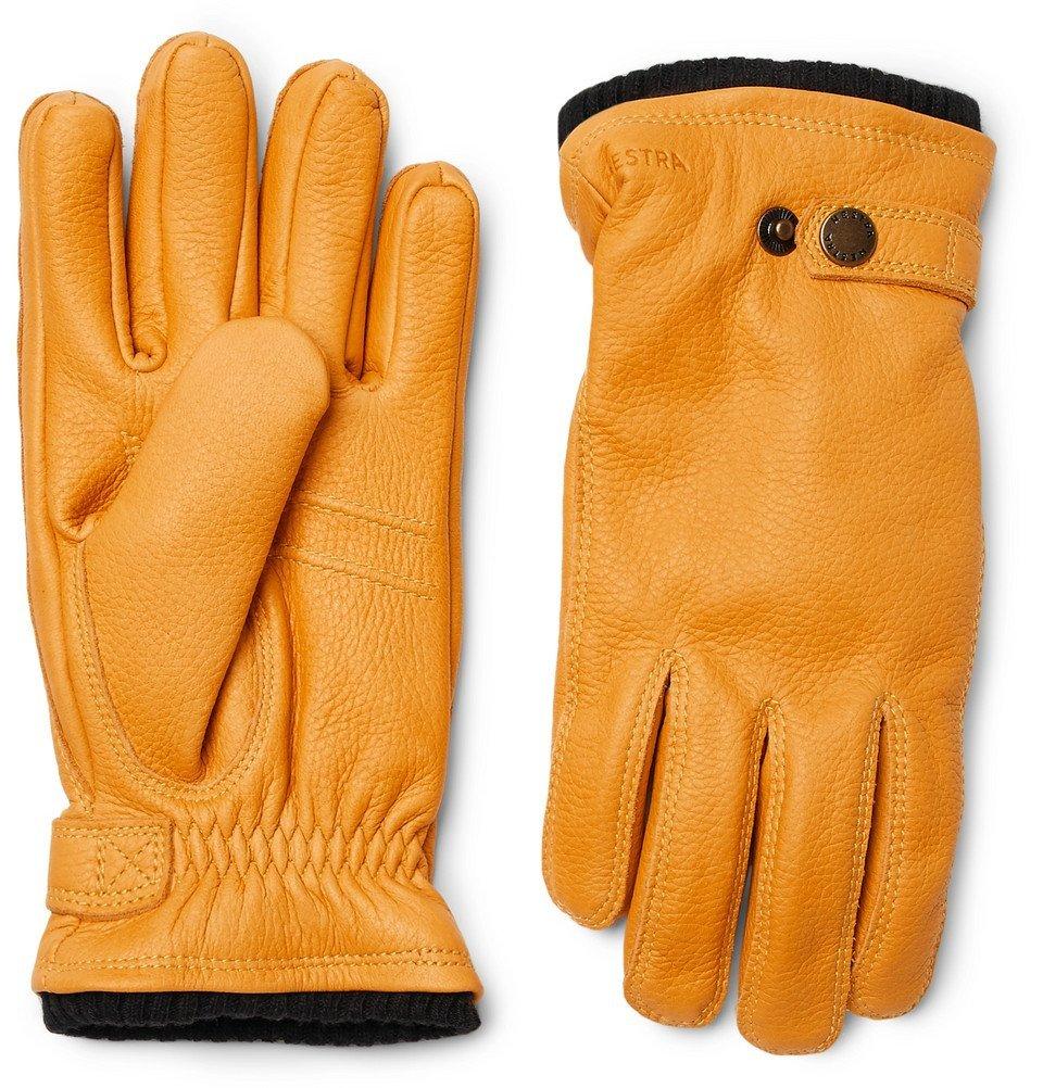 Photo: Hestra - Utsjö Fleece-Lined Full-Grain Leather Gloves - Men - Yellow