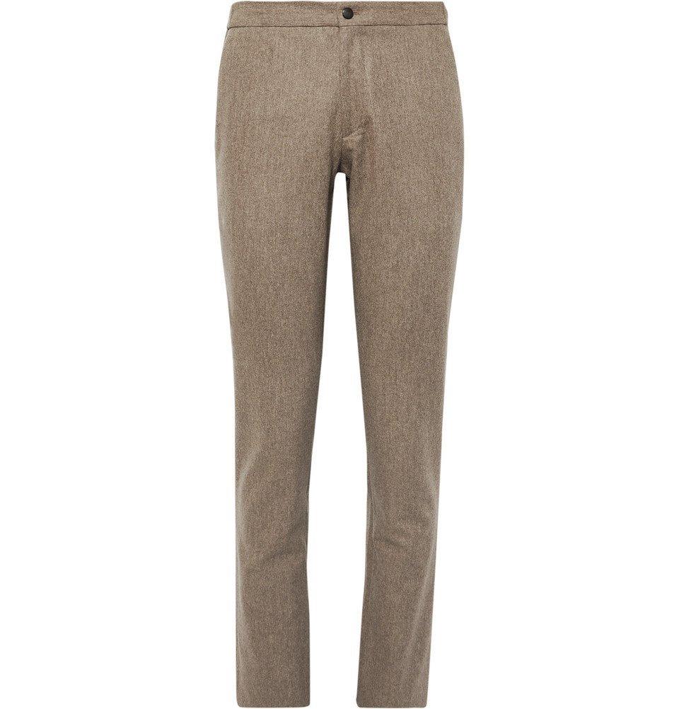 Photo: Incotex - Slim-Fit Brushed Wool-Twill Trousers - Tan