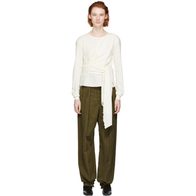 Photo: Lemaire White Wool Wrap Sweater