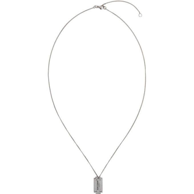 Photo: Saint Laurent Silver Razor Blade Necklace