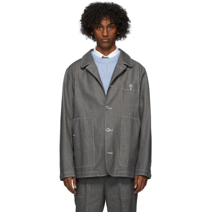Photo: Thom Browne Grey Patch Pocket Denim Jacket