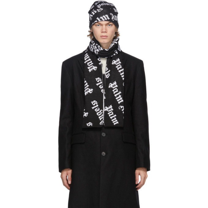 Photo: Palm Angels Black and White Logo Beanie and Scarf Set