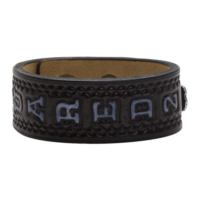 Photo: Dsquared2 Black Leather Logo Fringes Bracelet
