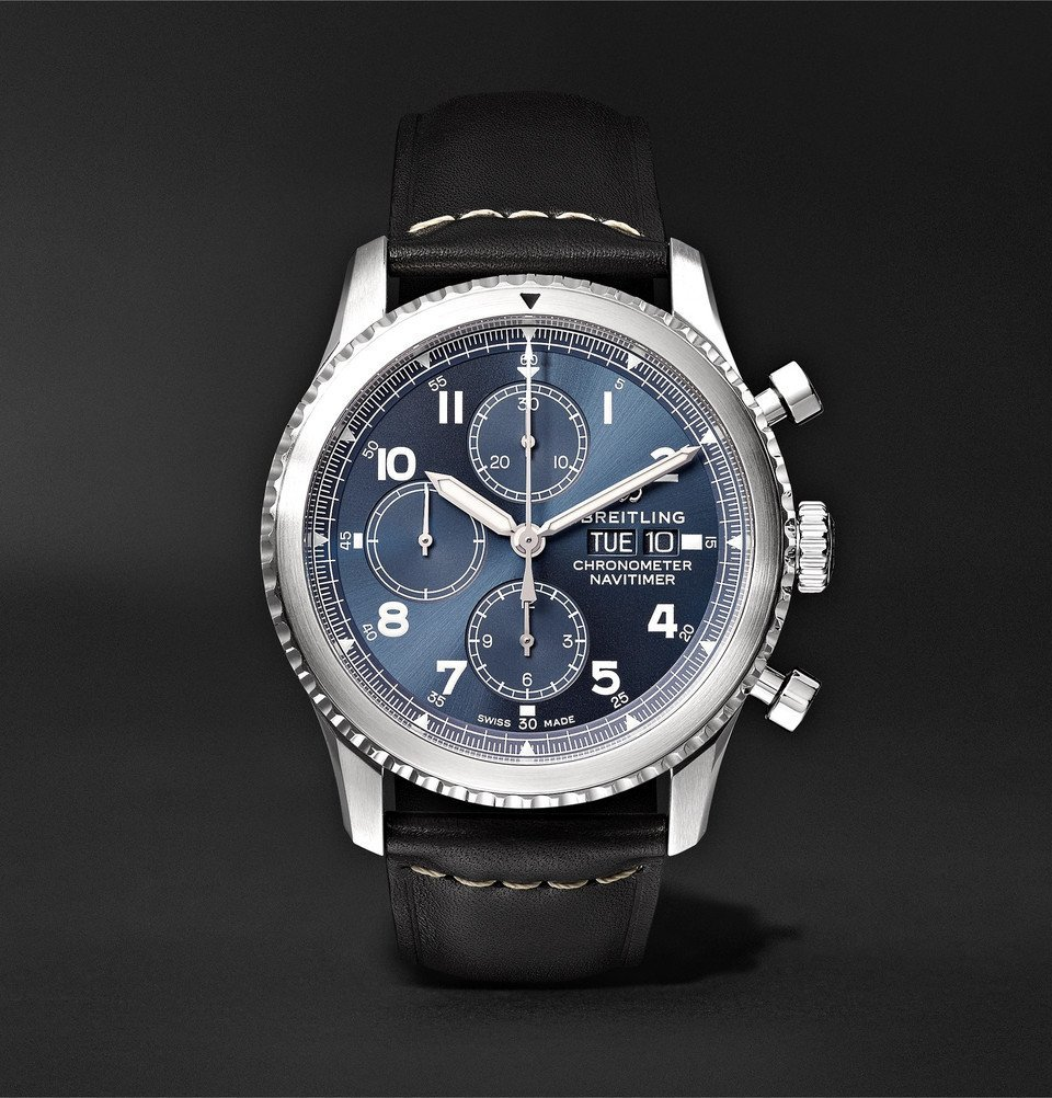 Photo: Breitling - Navitimer 8 Automatic Chronograph 43mm Steel and Leather Watch - Black