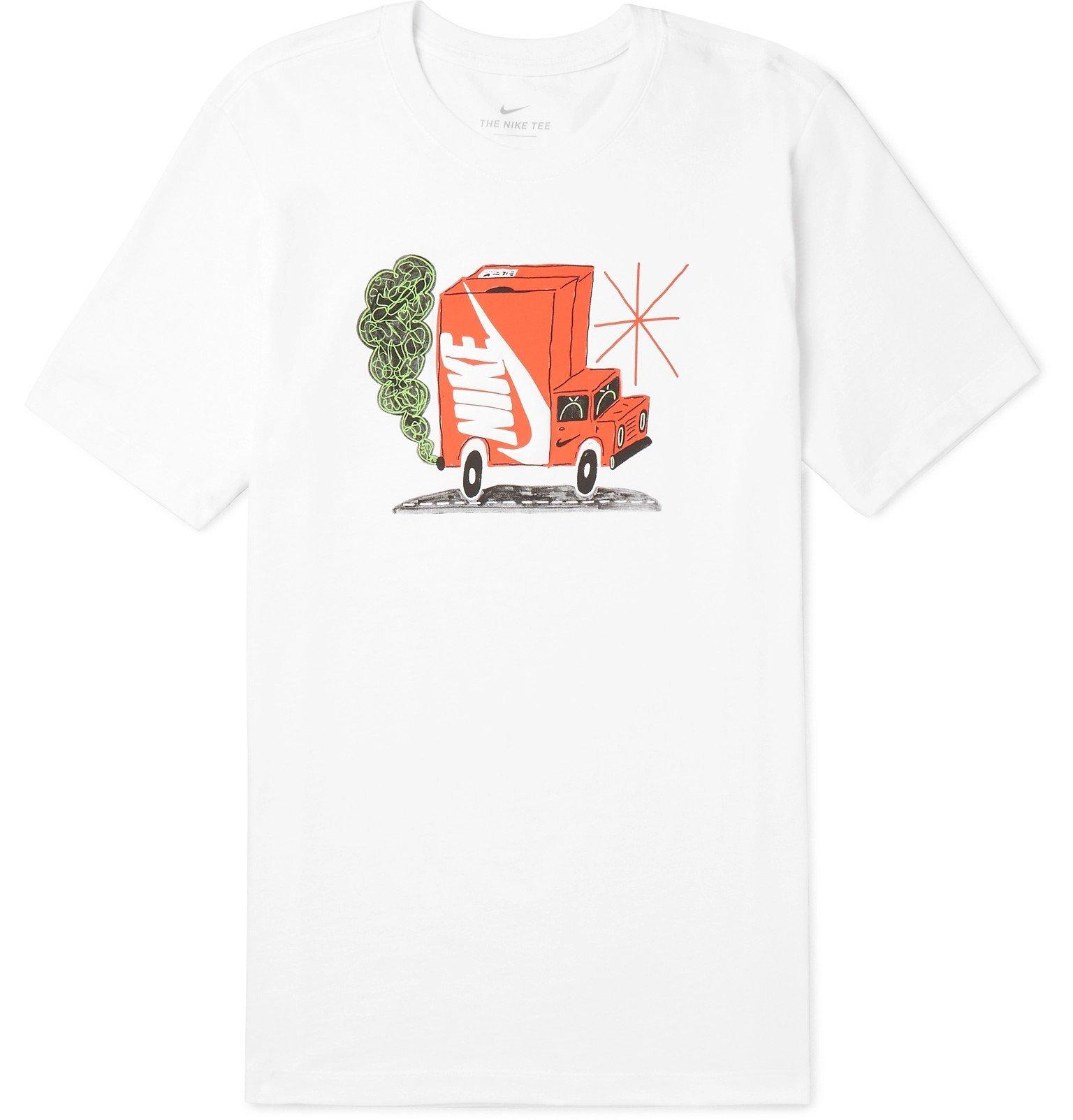 Photo: Nike - Printed Cotton-Jersey T-Shirt - White