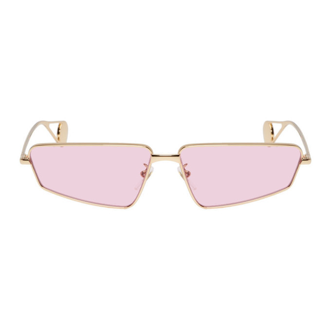 Photo: Gucci Gold and Pink Rectangular Sunglasses