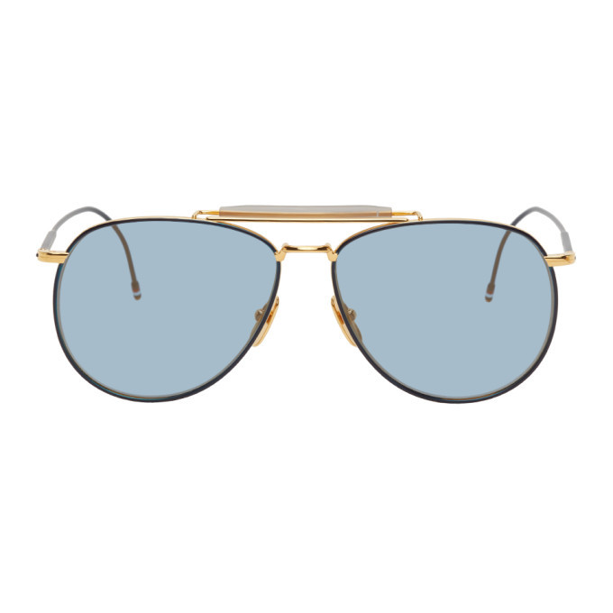Photo: Thom Browne Gold TB015 Sunglasses