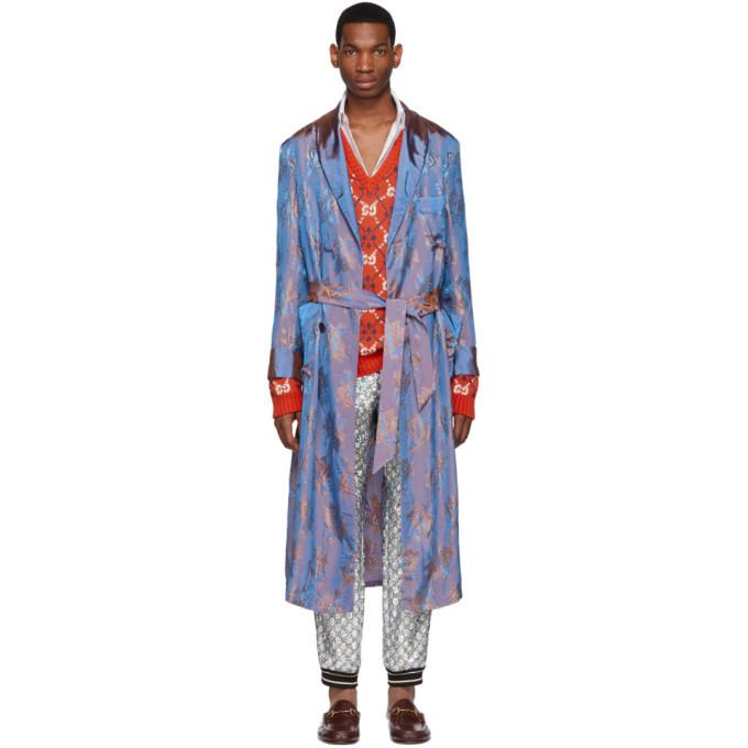 Photo: Gucci Blue and Orange Viscose Jacquard Shimmering Coat