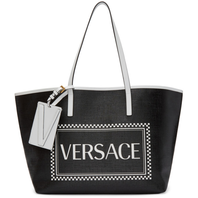 Photo: Versace Black Small 90s Vintage Logo Tote