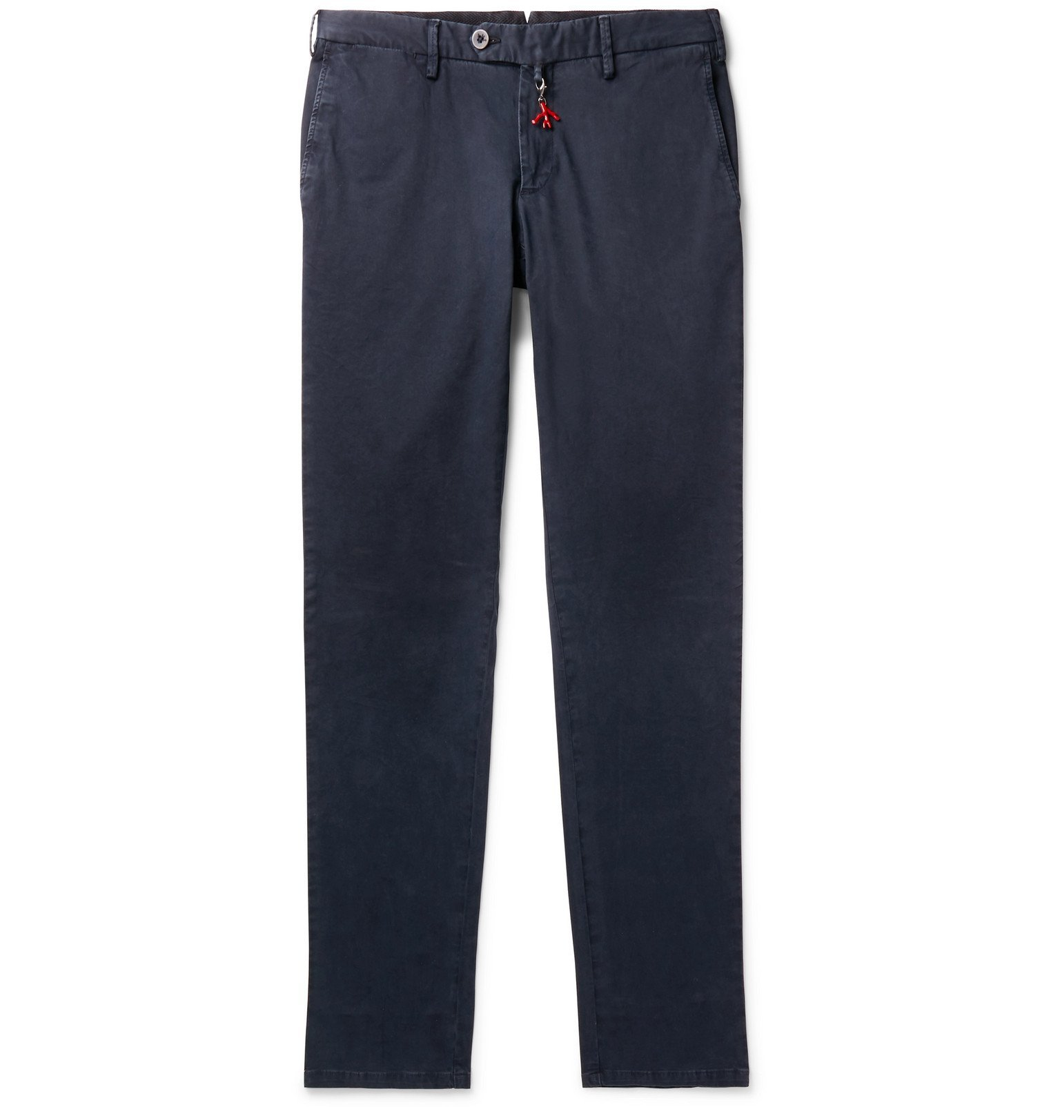 Photo: Isaia - Navy Slim-Fit Cotton-Blend Gabardine Chinos - Blue