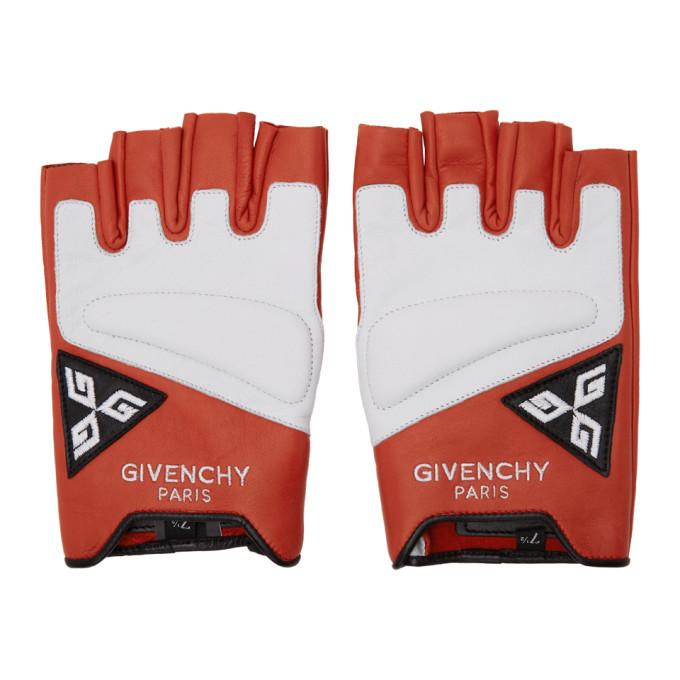 Photo: Givenchy Red and White Mezzi Moto Gloves