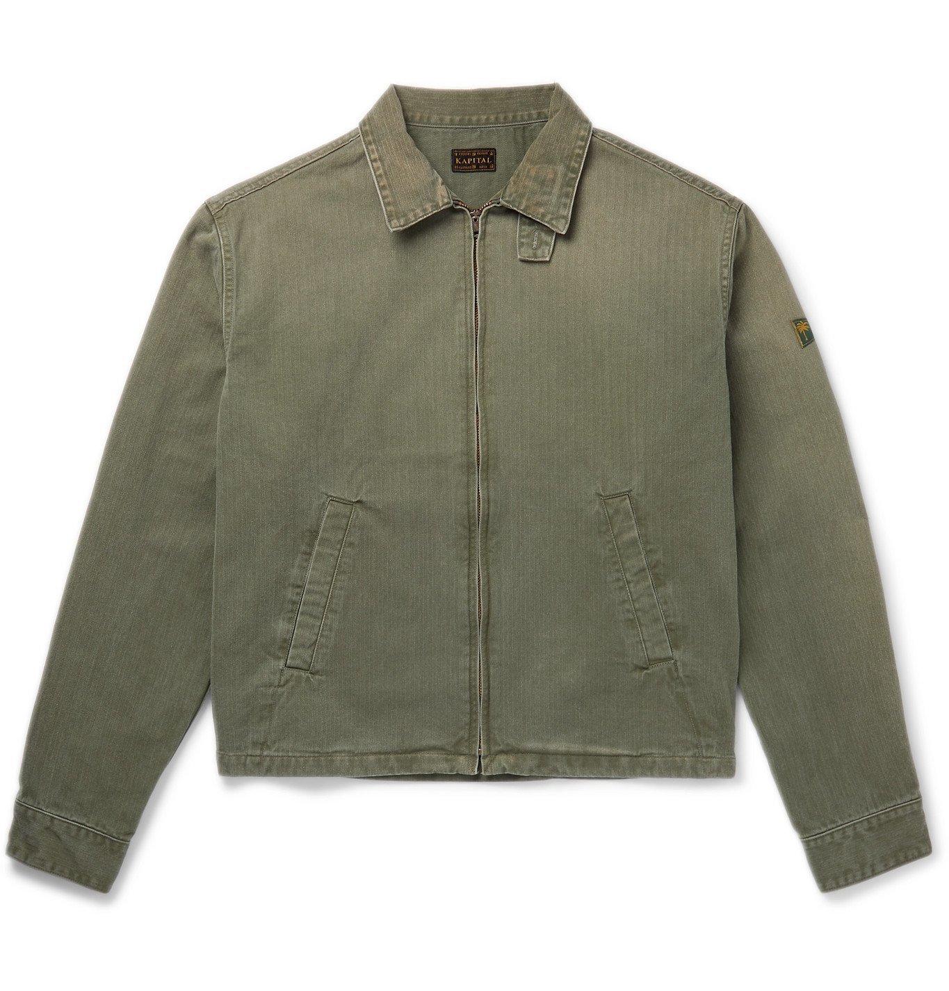 KAPITAL - Drizzler Herringbone Cotton-Twill Jacket - Green