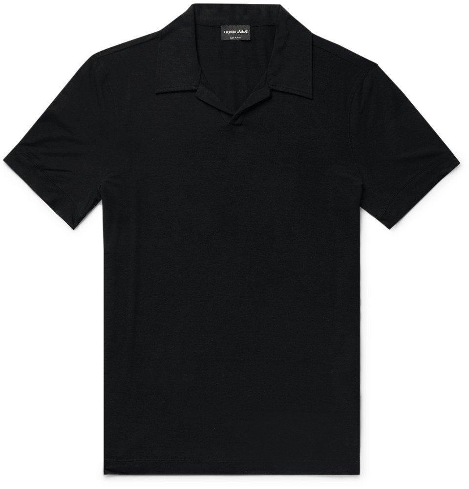 Giorgio Armani - Slim-Fit Jersey Polo Shirt - Black