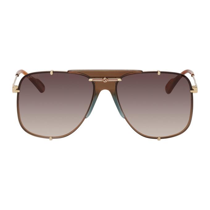 Photo: Gucci Gold and Brown Bold Bridge Aviator Sunglasses