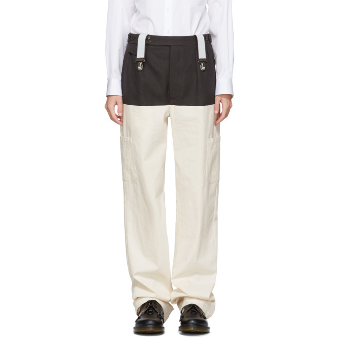 Raf Simons Brown and Off-White Wool Horizontal Cut Trousers