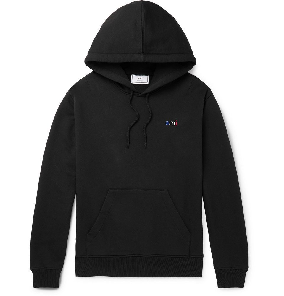Photo: AMI - Logo-Embroidered Loopback Cotton-Jersey Hoodie - Black