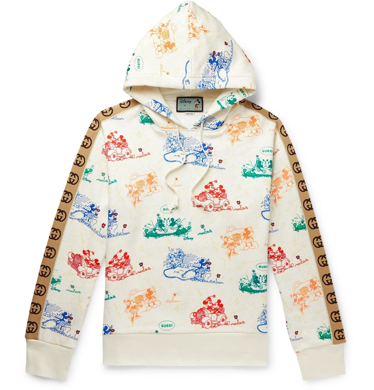 Photo: Gucci - Disney Webbing-Trimmed Printed Loopback Cotton-Jersey Hoodie - Neutrals