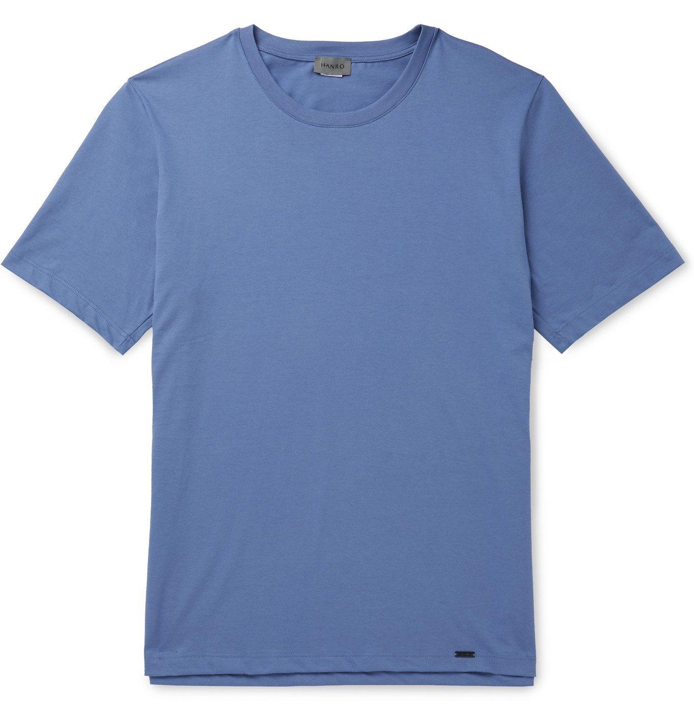 Hanro - Night & Day Cotton-Jersey Pyjama Top - Blue